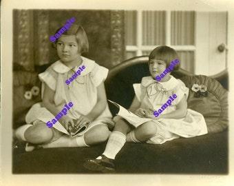 Instant Digital Download-Sweet Sisters-Vintage Studio Portrait