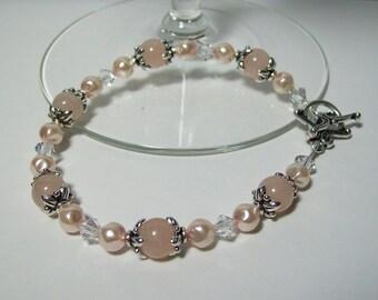 Pink Aventurine Bracelet. Pink Aventurine and Czech Twirl Pearls. Girly Bracelet.