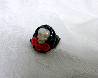 Skull  ring  gothic black filigree adjustable Halloween goth horror womens mens jewelry clothing accessory noir day of the dead tattoo scary