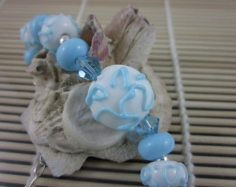 Baby Blue and White Handmade Artisan Lampwork Bead and Sterling Silver Bracelet