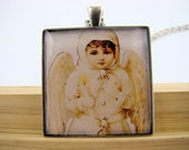Resin Pendant, Snowsuit Angel, Christmas, Holidays, White, Yellow, 35mm, Square, Necklace, For Her