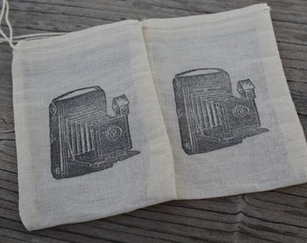 Set of 10 Hand stamped Vintage Camera Party Favor Muslin Bags 100% organic made in america