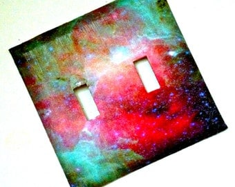 Double Galaxy Light Switch Plate Cover