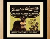 Miniature Schnauzer Art  - Dog Art - Coffee Beans Kitchen Dinning Room Art - Modern Vintage Poster Print - C01-068-10X10