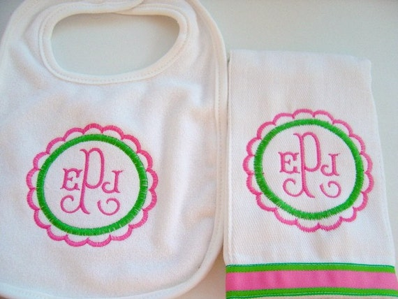 Baby Girl Bib and Burp Cloth Set Hot Pink and Green