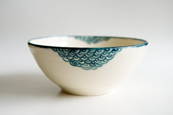 Ceramic Bowl in Teal and White- scallop design by RossLab