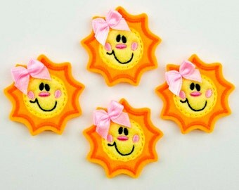 SWEET SUNSHINE - Embroidered Felt Embellishments / Appliques - Yellow/Goldenrod (Qnty of 4) SCF0265