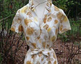 60s ROSE PRINT DRESS with Matching Belt and Ruffled Collar