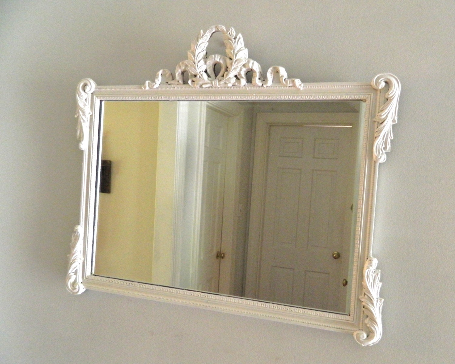 Vintage white shabby chic mirror wood frame ornate large for Large white mirror
