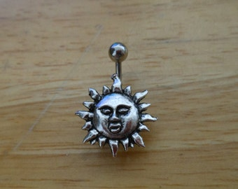 Belly button ring piercing - Body Jewelry - Silver Sun belly button ring