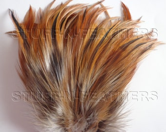 Neck Hackle FURNACE BROWN - Rooster feathers for jewelry making, hair extensions, crafts and more, 4-6 in (10-15 cm) / F10-4
