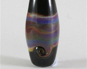 Handmade Lampwork Glass Bead SRA Organic Black, Blue, Green, Purple, Brown LE Team, DUST Team