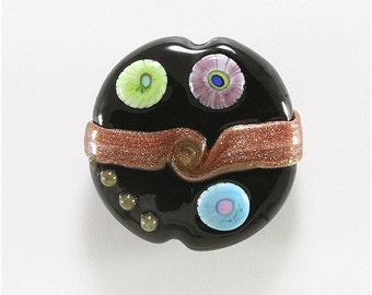 Lampwork Bead Handmade Glass Bead Lentil Focal Black Green Blue Purple Goldstone Copper  SRA DUST Team LE Team