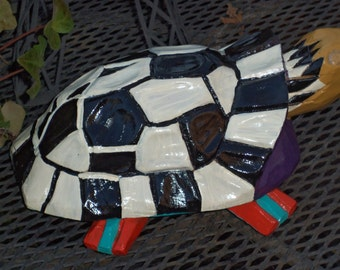 Whimsical Wood Turtle Hand Painted Garden Beach Decor
