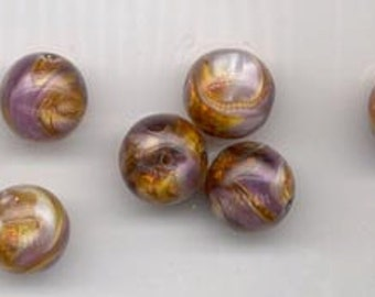 Wow - seven  vintage German marbled lampwork glass beads - purple and glittering gold - 13.5 mm rounds