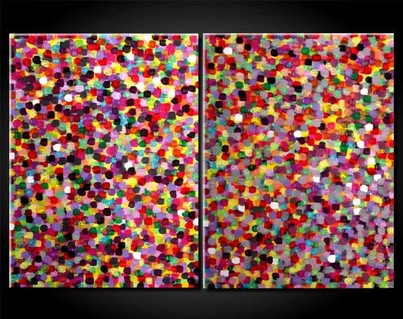 SALE 20% OFF Large Modern Abstract Dots Painting Red Diptych Colorful Modern Contemporary 24X36 18x48 by JMichael