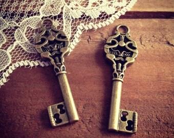 6 Pcs Skeleton Key Charms Antique Bronze Key Charm Victorian Key Charm Old Fashioned Vintage Style Pendant  Charm Jewelry Supplies (BD096)