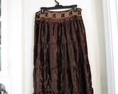 Womens Long Brown Velvet Skirt
