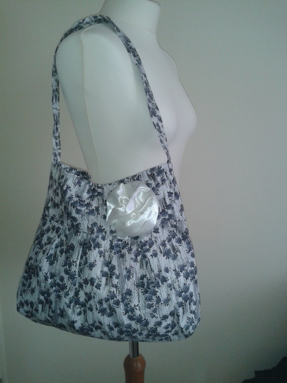 Big Sale! Light Summer Bag, Girls Bag ,Grey bag,Detachable Flower