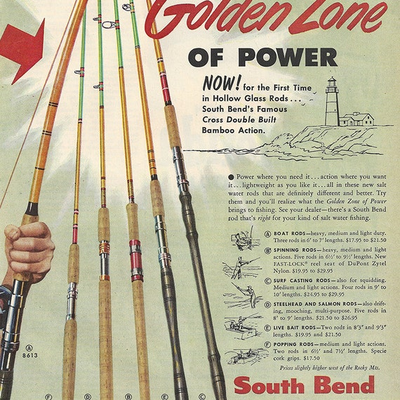 1954 south bend fishing rods full color illustrated ad