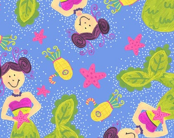 SALE - Extraordinary World - Pretty Mermaids - Periwinkle - In The Beginning Fabrics- Choose Your Cut 1/2 or Full Cut