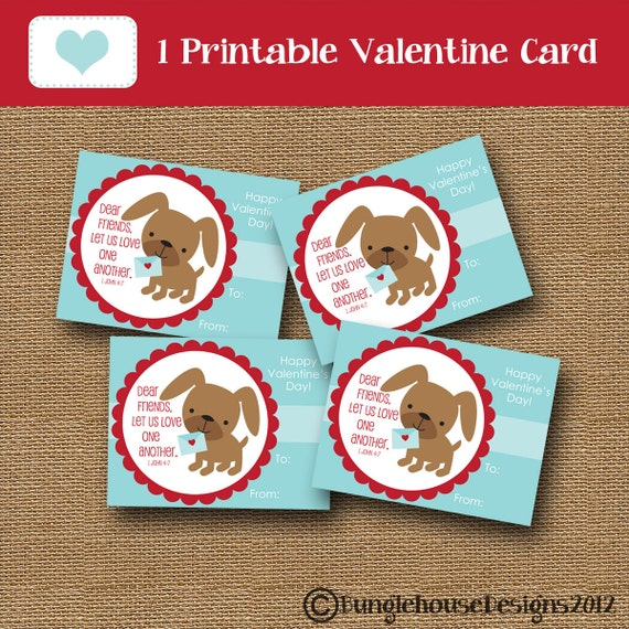 Kids Printable Valentine Card Puppy Dog Valentine DIY – Christian Valentine Cards for Kids