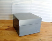 Grey Metal Index Box with Alphabetical Tabs