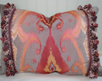 IN STOCK / Raspberry and Grey Ikat Pillow Cover / 16 X 20 / Hamilton Upholstery with tassel trim and smokey grey chenille back