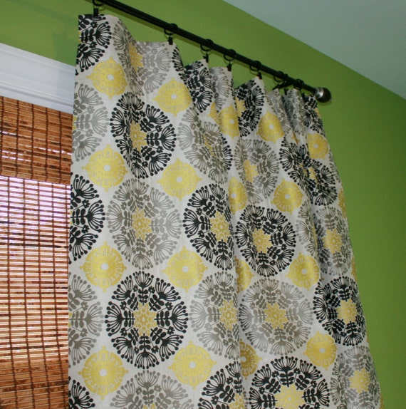 Items Similar To Black Grey And Yellow Suzani Curtain Panel Custom Drapery In Claridge Fabric