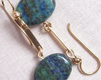 Chrysocolla Lapis and 14k Gold Filled Earrings