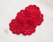 Set of 5 crochet flower appliques Red Valentines Wedding Decoration Embellishment