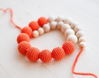 Nursing necklace / Teething necklace - Orange, tangerine - Eco-friendly, Natural
