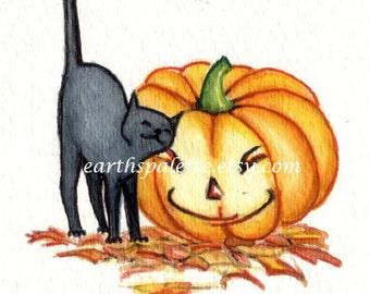 Black cat and pumpkin ATC, 2.5X3.5 PRINT from original illustration, halloween, art & collectibles earthspalette