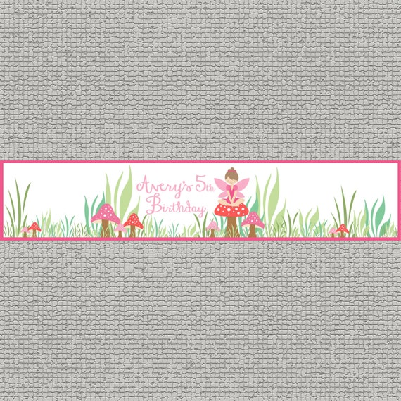 Custom Fairy Birthday Bottle Wrappers - Pixie Party- Fairy - Party Supplies