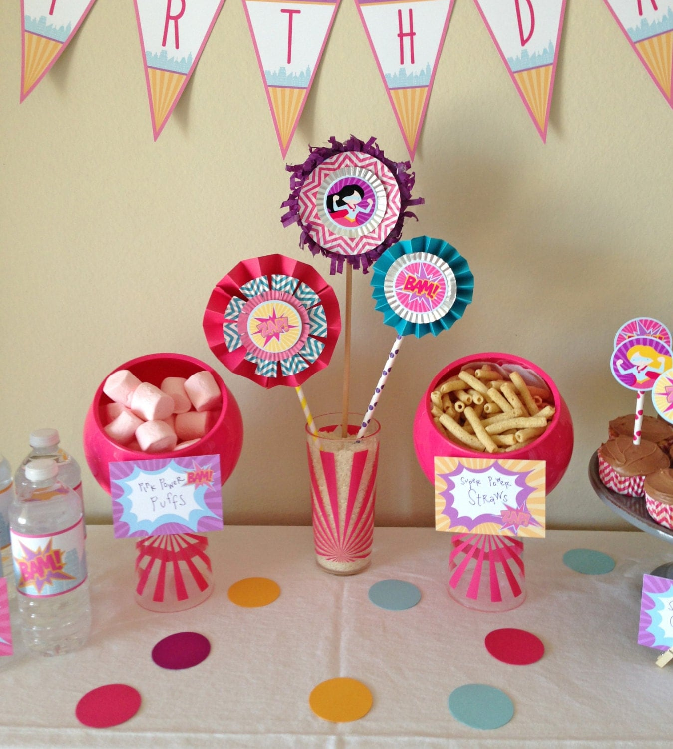 Girls Superhero Party Pack - Superhero for Girls - Digital files - Party Supplies - INTANT DOWNLOAD