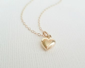 Gold Heart Necklace,14k Gold Filled Chain, Gift For Her, Gold Heart Charm, Birthday Gift, Simple Necklace, Dainty Necklace,