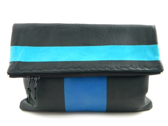 SALE/LAST ONE - Double Crossed Leather Statement Clutch