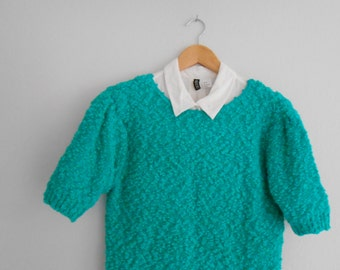 Vintage Sweater Turquoise Knitted Blue Sweater FREE SHIPPING