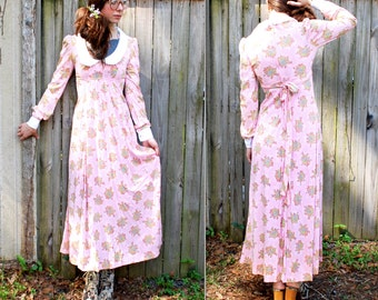 Vintage // 1960's Sheer Pastel Pink Maxi Dress // Rare PHASE II California // Size 7 small // Dusty Rose