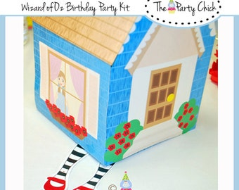 Printable Dorthy's House'  Center Piece , Treat box,  INSTANT DOWNLOAD,   Co ordinates with,  Wizard Of OZ kit,
