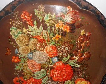 Vintage Daher Tray Decorative Serving English Wall Decor Shabby Chic Floral Brown Orange