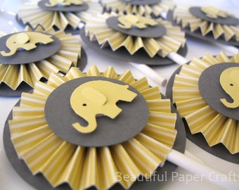 Gray and Yellow Baby Elephant Rosettes Cupcake Toppers- Elephant Baby Shower Decorations..Set of 12