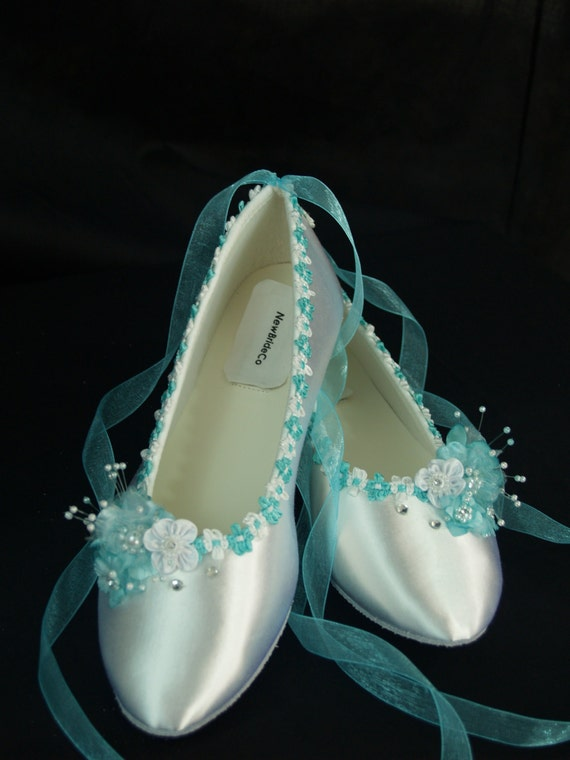wedding flat shoes tiffany blue trims on ballerina slipper