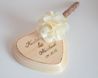 Personalized Rustic wedding pen and pen holder