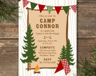Party Invitation - Camp Theme Printable
