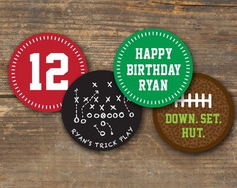 Football Birthday Cupcake Toppers Printable - Sticker Labels