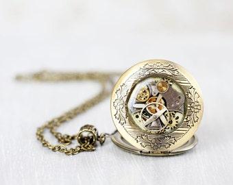 Steampunk locket necklace - Antique Watch Movements - Steampunk Jewelry