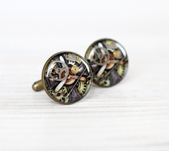 Men cufflinks - Steampunk Cuff links for him - Antique Watch Movements - Steampunk Jewelry