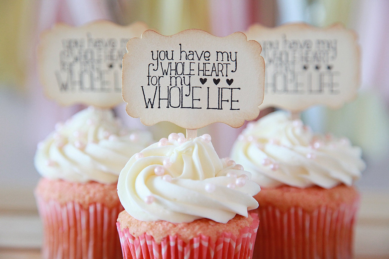 Wedding cupcake toppers Bridal shower Anniversary You have