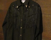 Vintage Black Western Shirt with Silver Studs & Fringe/ Cowgirl/ Rodeo/Parade/Pageant Shirt/ Sassa/ Medium